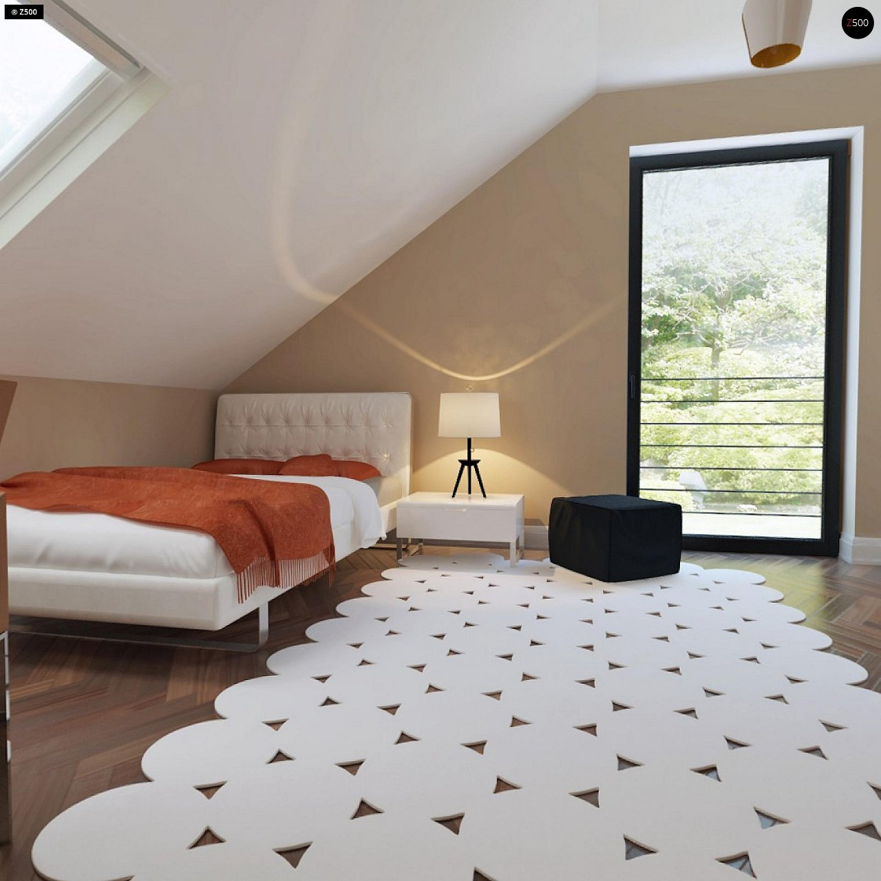 Аккуратный дом простой традиционной формы с гаражом и дополнительной спальней на первом этаже. 20