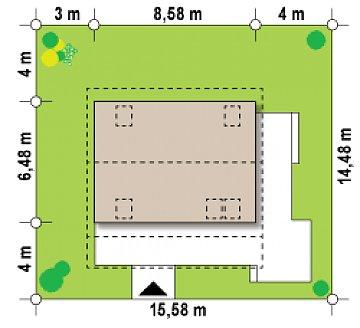 Маленький, уютный дом с мансардой, двускатной крышей и c фронтальной террасой. план помещений 1