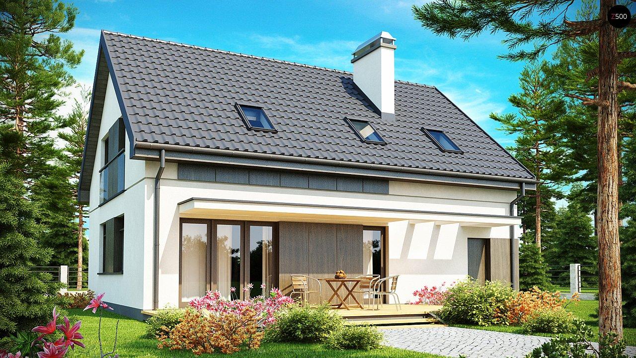 Функциональный традиционный дом с современными элементами в архитектуре, со встроенным гаражом. 1