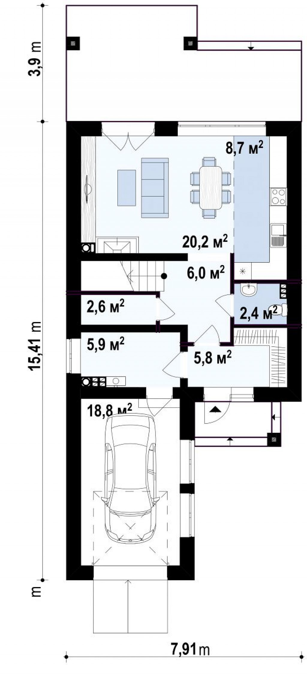 Проект компактного современного дома с двухуровневой планировкой и гаражом на один автомобиль. план помещений 1