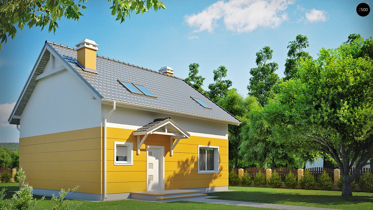 Стильный дом с мансардным окном и балконом, а также кухней со стороны сада. 2