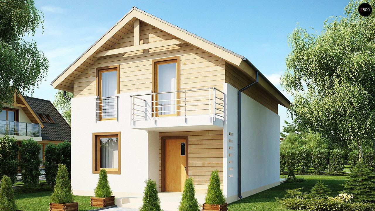 Простой и удобный дом для узкого участка с высокой аттиковой стеной. - фото 1