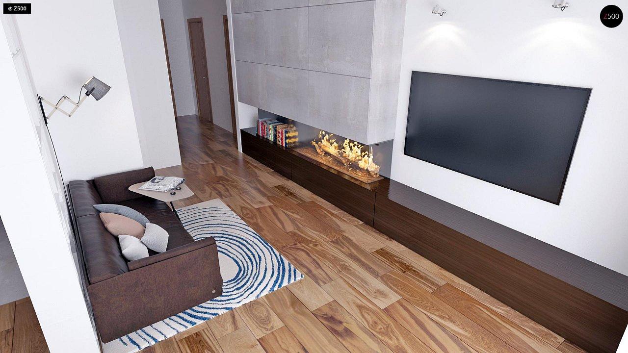 Аккуратный одноэтажный дом с деревянной облицовкой фасадов, адаптированный для каркасной технологии. 4