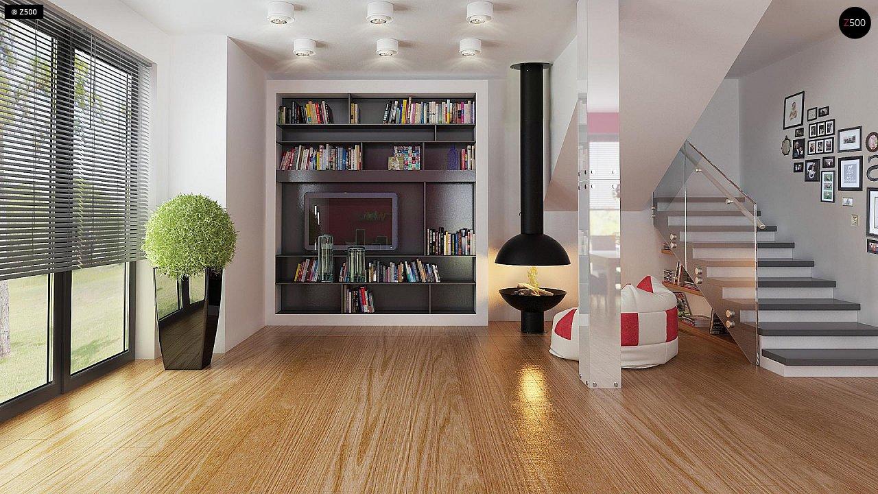 Дом простой энергосберегающей формы со светлым интерьером, подходящий для узкого участка. - фото 4