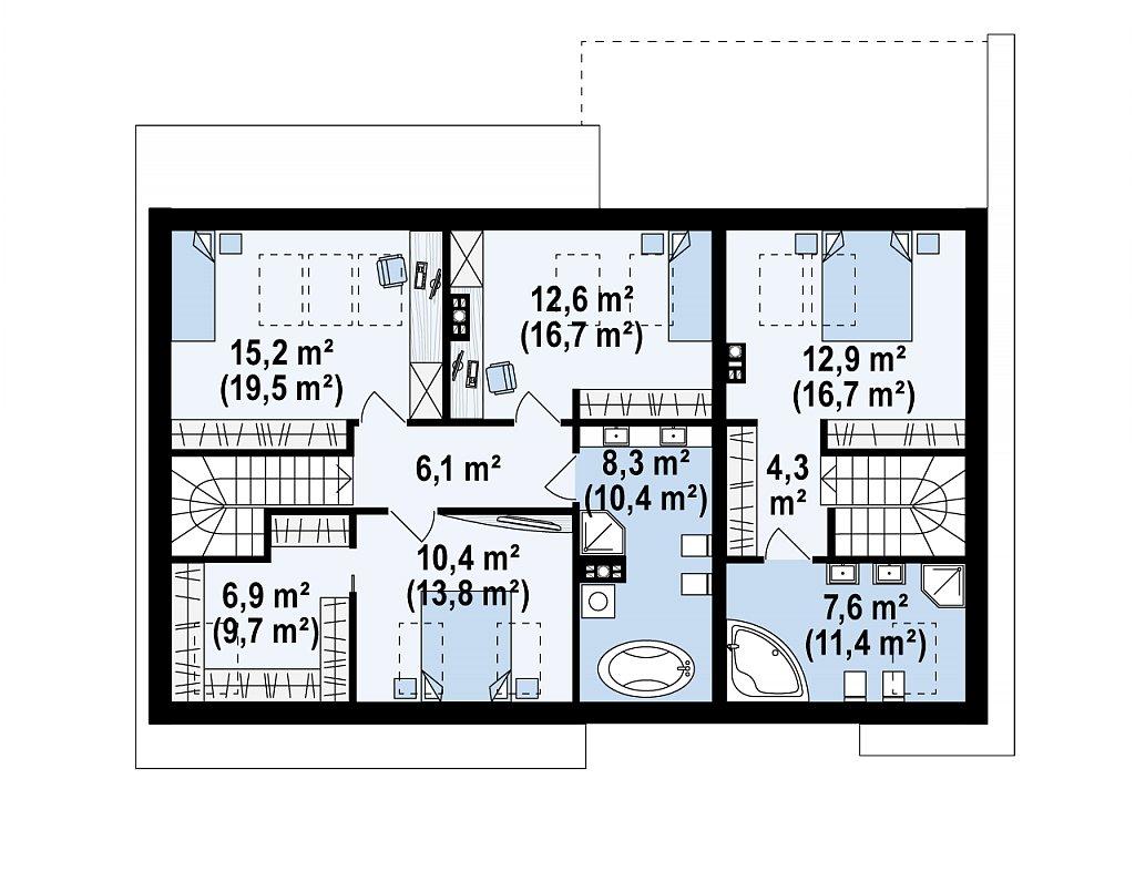 Комфортный мансардный дом для двух семей. план помещений 2