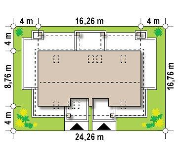 Стильный мансардный дом с двускатной кровлей план помещений 1