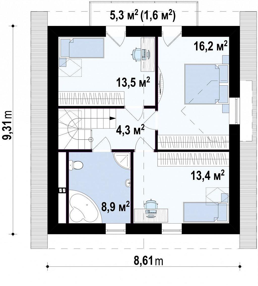 Очаровательный и практичный дом с мансардой в традиционном стиле. план помещений 2