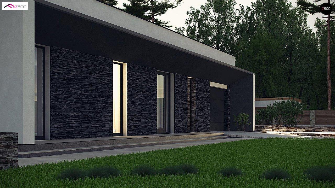 Современный одноэтажный дом с плоской крышей и гаражом на один автомобиль. - фото 6
