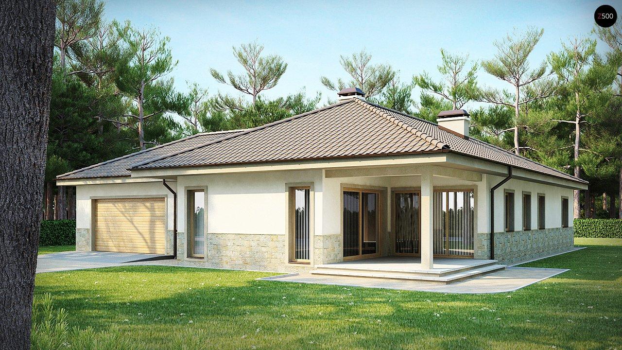 Одноэтажный дом в скандинавском стиле с дополнительной фронтальной террасой и гаражом на две машины. 1