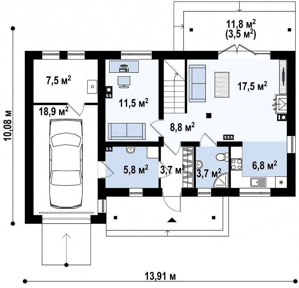 Версия проекта Z210 c гаражом, с альтернативной планировкой. план помещений 1