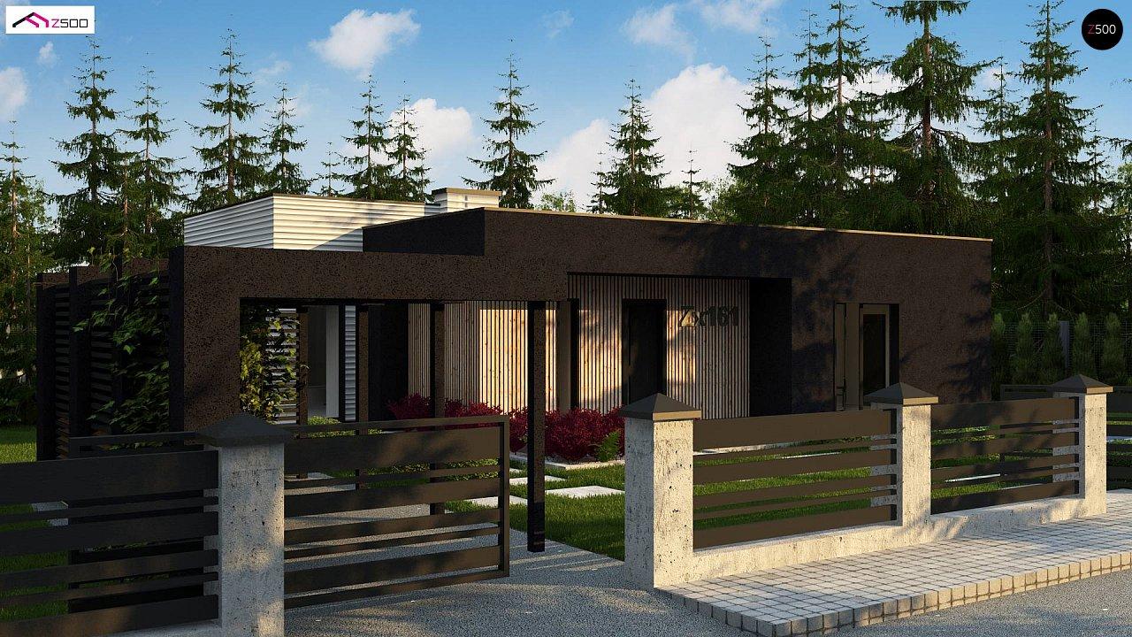 Проект просторного одноуровневого дома с плоской кровлей. - фото 1