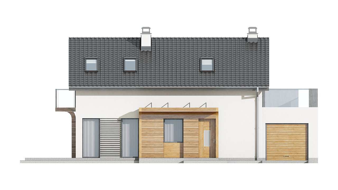 Практичный и уютный дом с оригинальным оформлением фасадов, идеальный для неглубокого участка. - фото 4