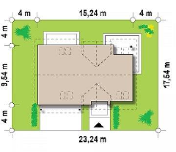 Вариант типового проекта Z172 c добавленным гаражом для двух машин план помещений 1