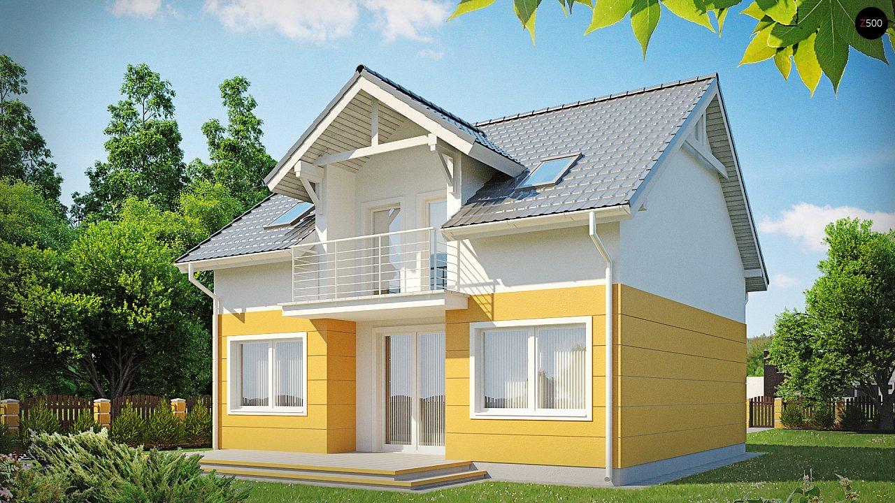 Стильный дом с мансардным окном и балконом, а также кухней со стороны сада. 1
