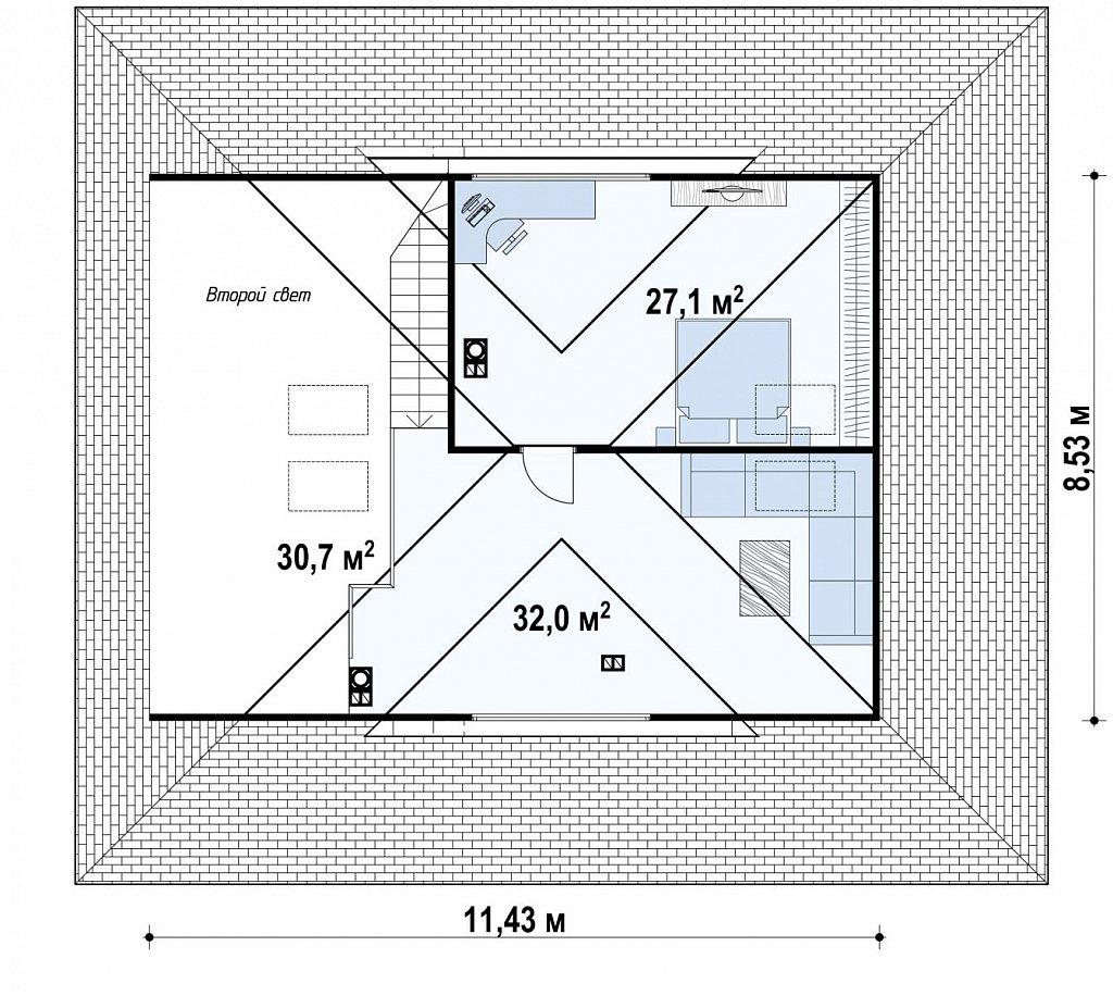 Комфортный одноэтажный дом с мансардой план помещений 2
