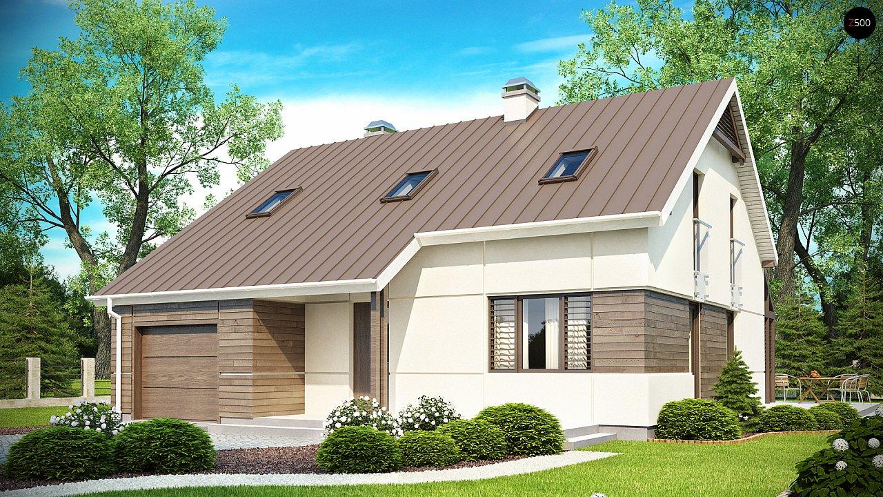 Проект дома с мансардой, с дополнительной спальней на первом этаже и с застекленной террасой. 1