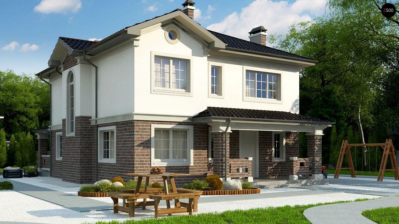 Проект двухэтажного дома в классическом стиле с дополнительной спальней на первом этаже. - фото 2
