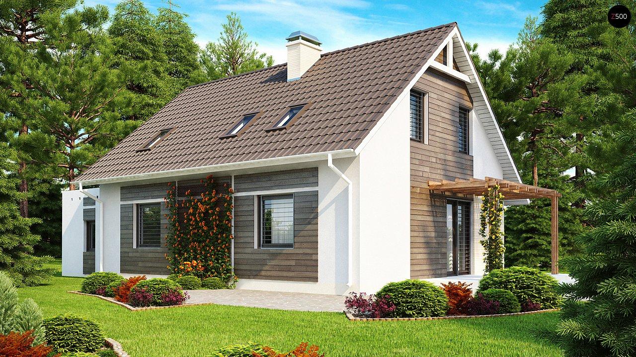Проект дома с гостиной со стороны входа, боковой террасой и дополнительной спальней на первом этаже. 2