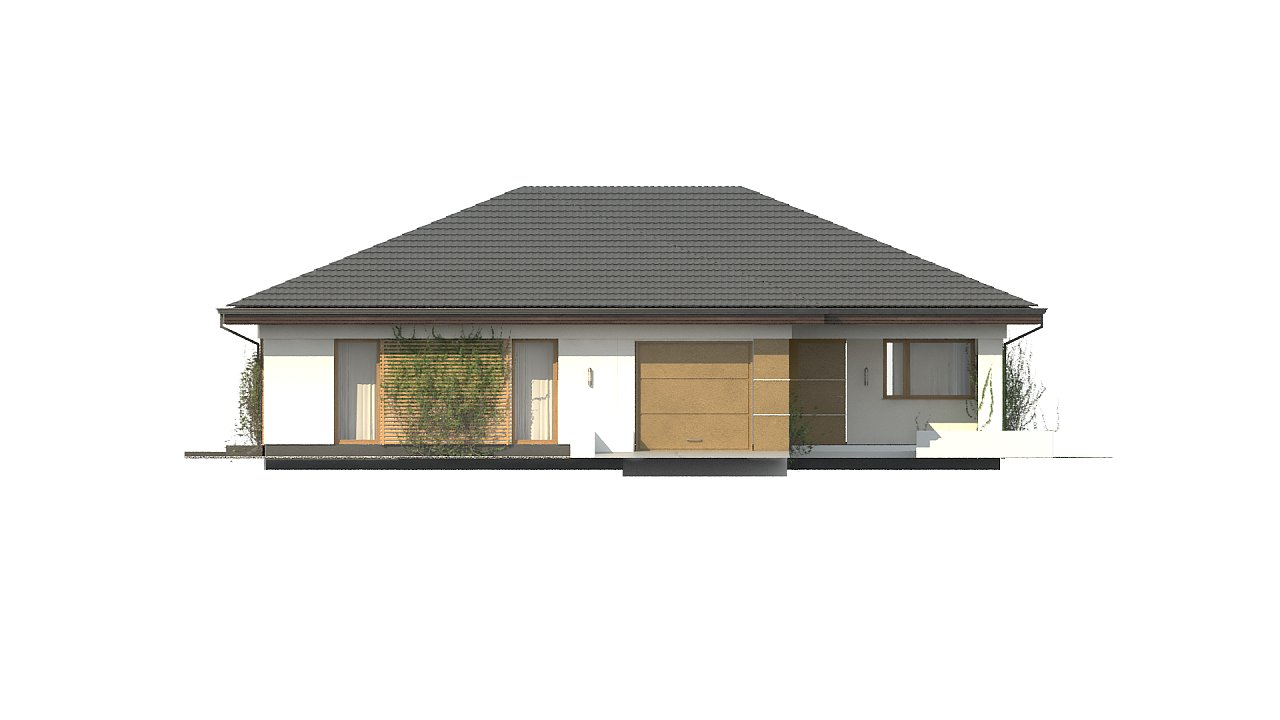 Проект одноэтажного дома с многоскатной крышей и гаражом на одну машину. - фото 5