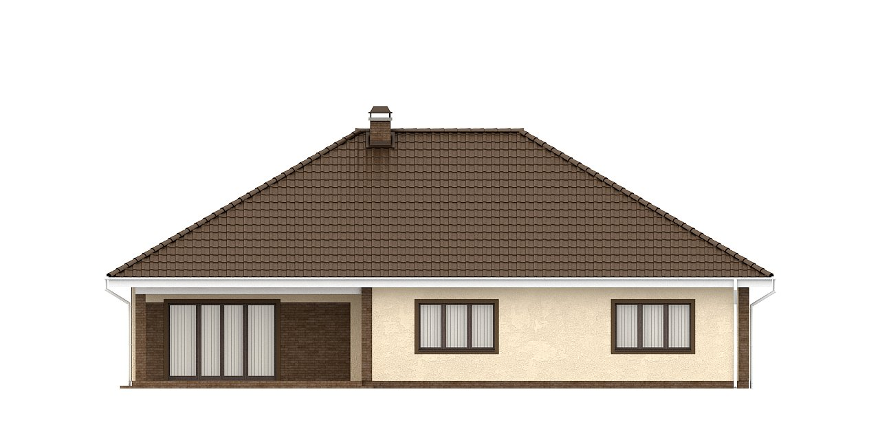 Одноэтажный дом с фронтальным гаражом для двух автомобилей. 22
