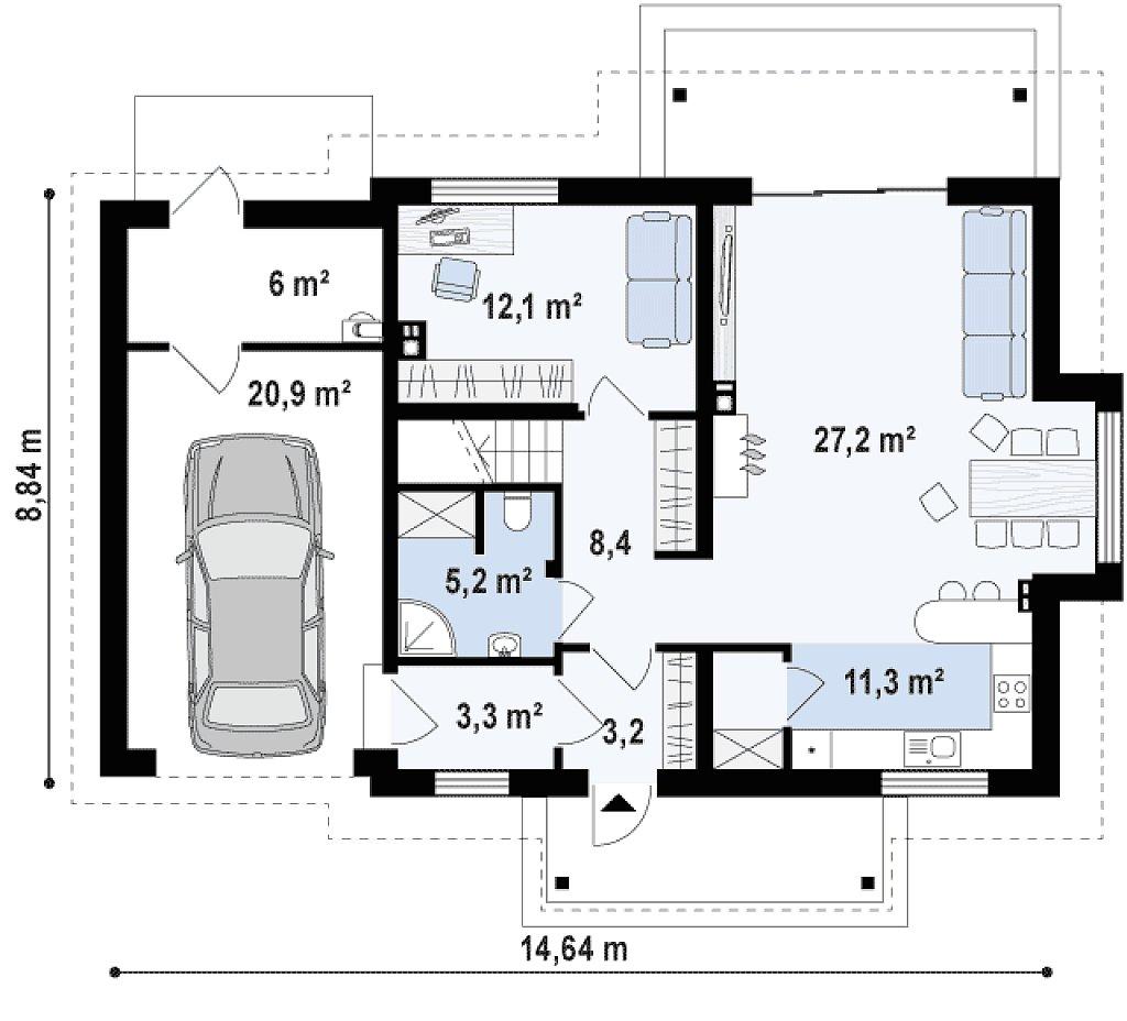 Вариант проекта Z162 с гаражом с левой стороны, с нежилой мансардой над гаражом. план помещений 1