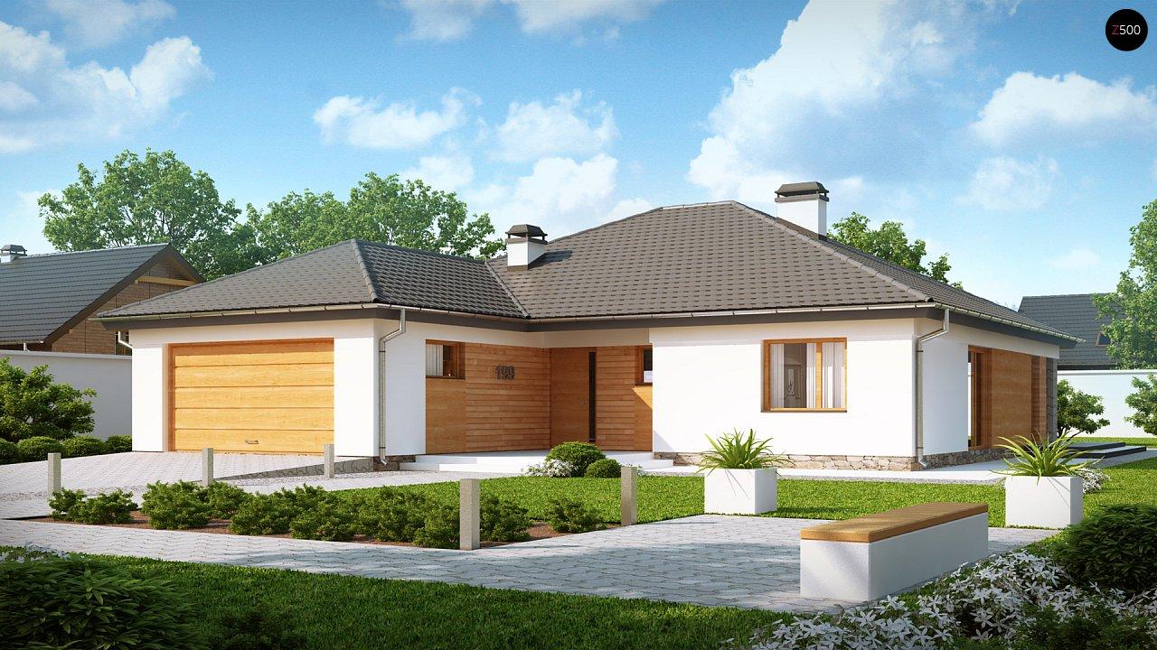 Комфортный одноэтажный дом с выступающим фронтальным гаражом для двух машин. 1