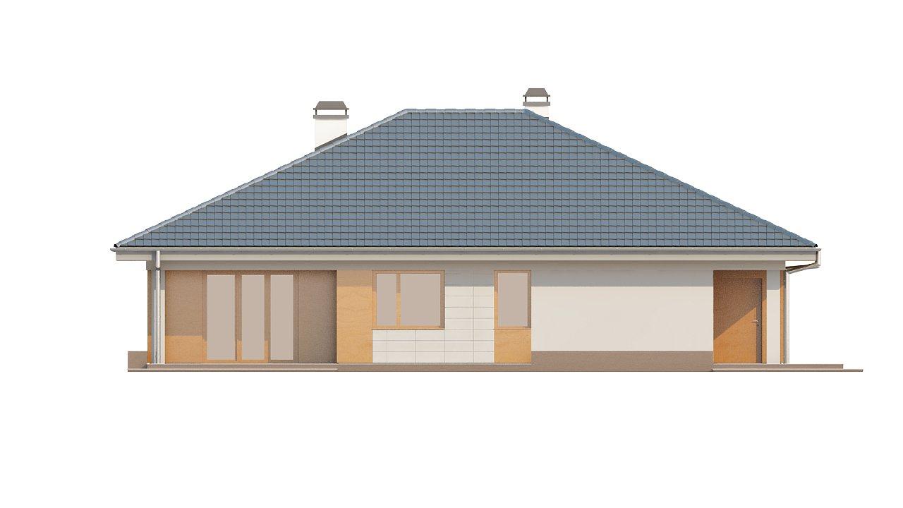 Практичный одноэтажный дом с гаражом для двух автомобилей и большим хозяйственным помещением. 23