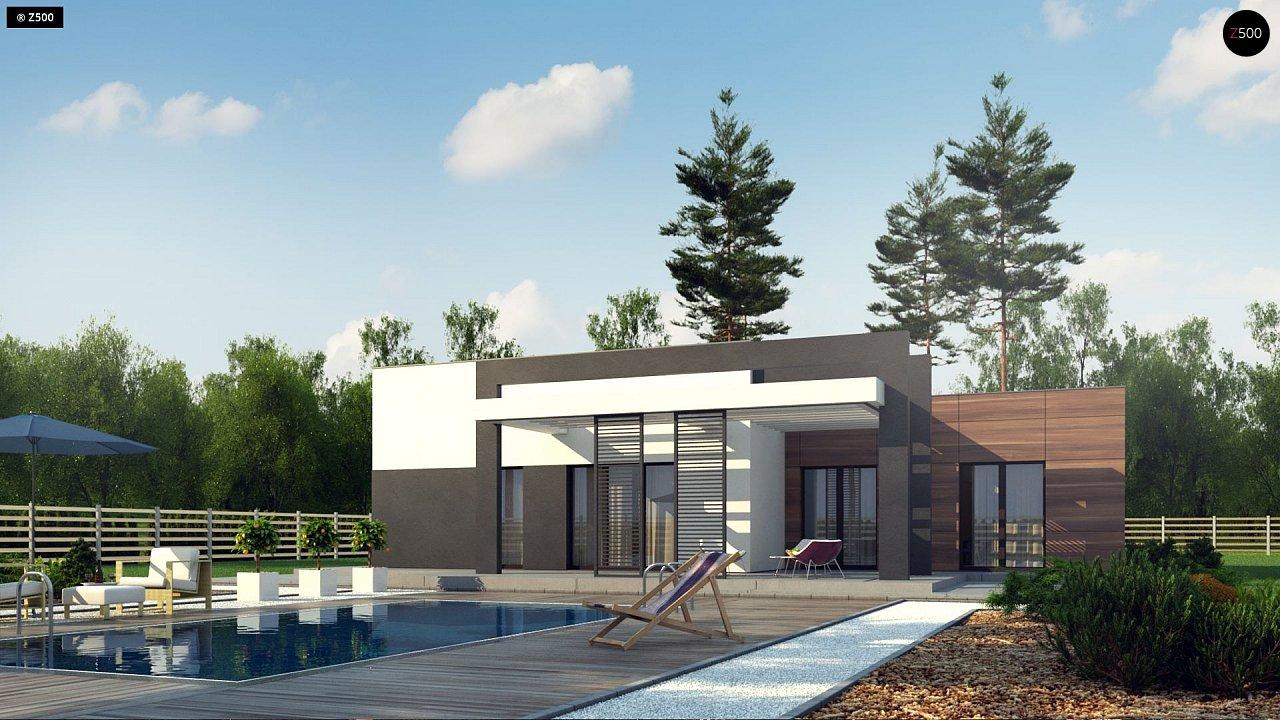Одноэтажный дом с плоской кровлей, тремя спальнями и гаражом на две машины 1