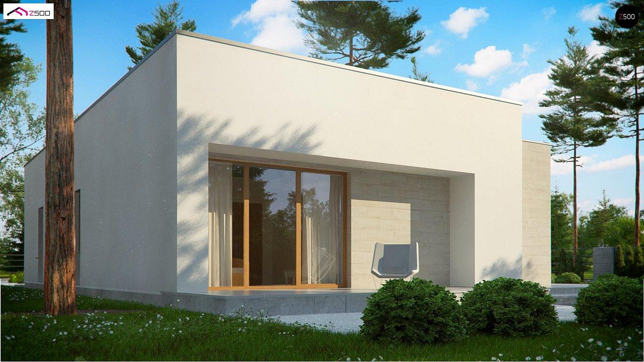 Одноэтажный дом в современном стиле, с большими застекленными окнами 9