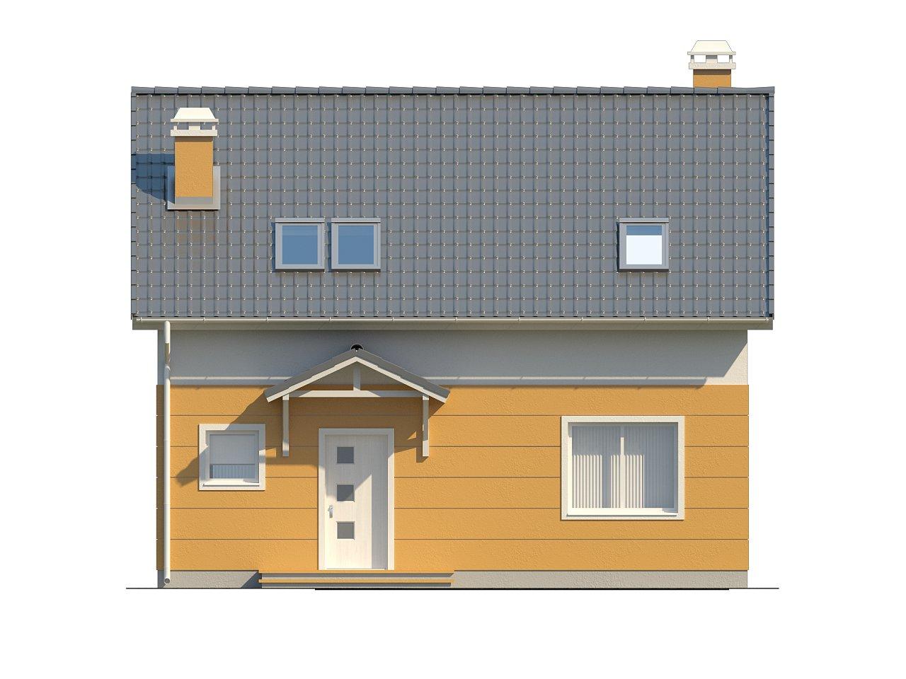 Стильный дом с мансардным окном и балконом, а также кухней со стороны сада. 3