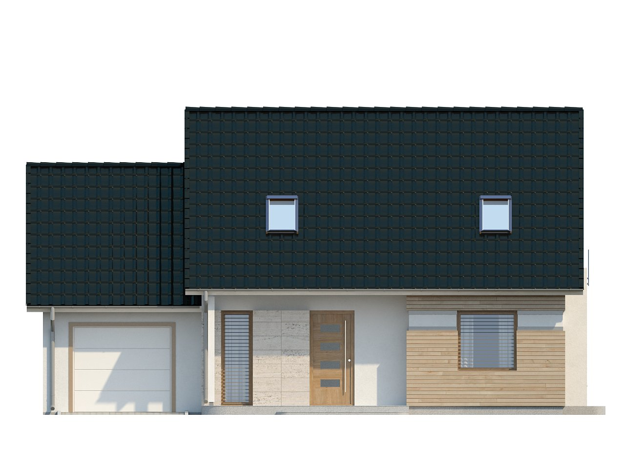 Проект практичного дома с эркером и гаражом на одну машину. 22