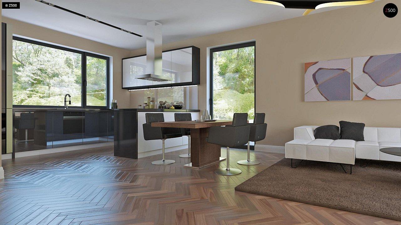 Аккуратный дом простой традиционной формы с гаражом и дополнительной спальней на первом этаже. 3
