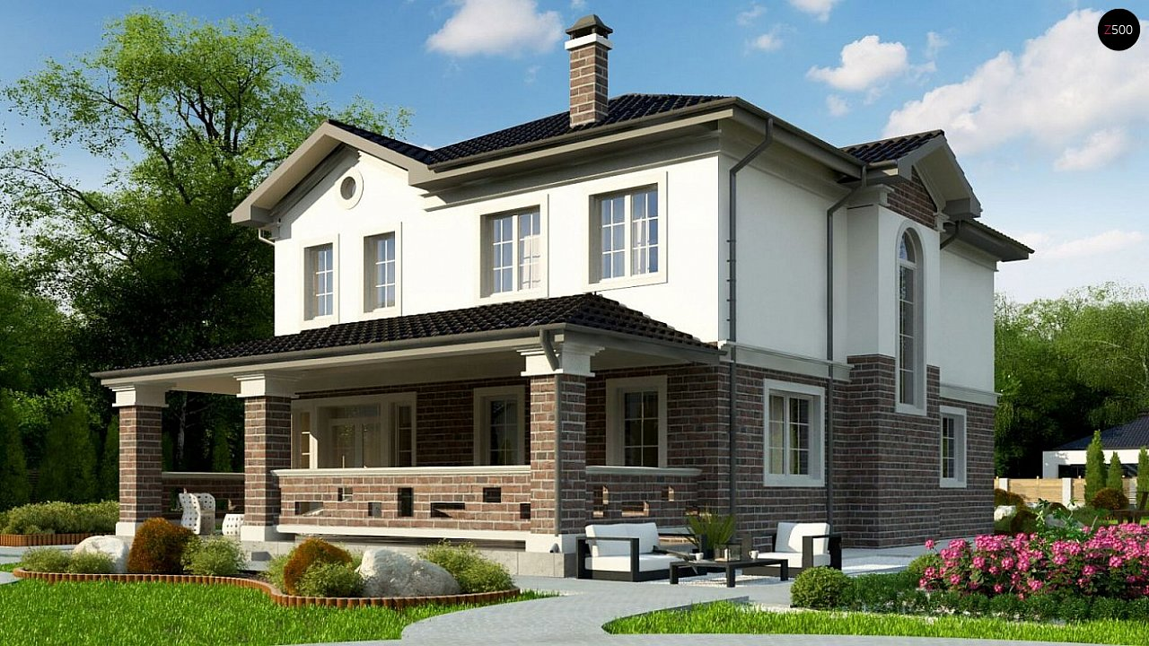 вариант двухэтажного дома Zz2 L BG в классическом стиле с плитами перекрытия - фото 3