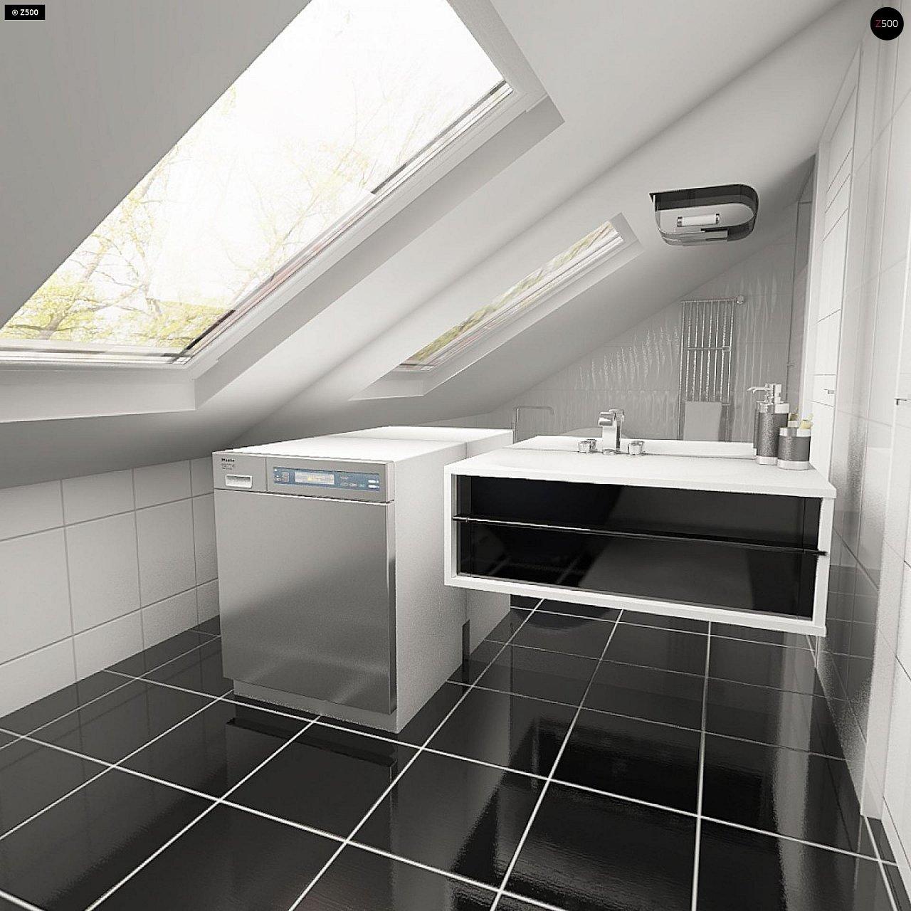 Практичный аккуратный дом с мансардой, со встроенным гаражом для одной машины. - фото 23