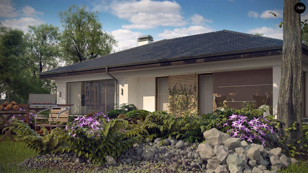 Проект одноэтажного дома с многоскатной крышей и гаражом на одну машину. - фото 4