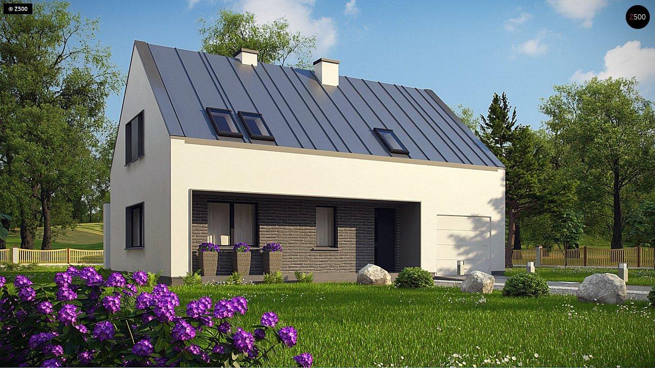 Проект мансардного с тремя спальнями и двускатной крышей 3