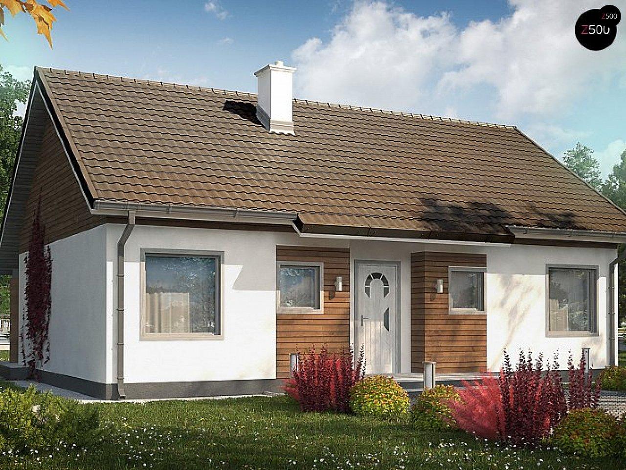 Проект небольшого одноэтажного дома в европейском стиле с двускатной кровлей. 1