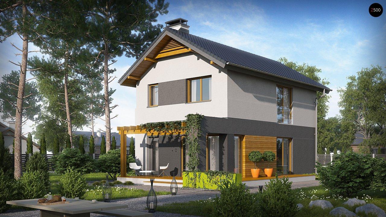 Небольшой двухэтажный дом с современными архитектурными элементами, подходящий для узкого участка. - фото 4