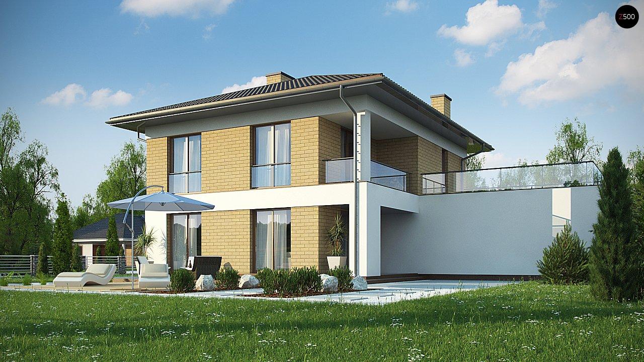 двухэтажный дом с гаражом на две машины в классическом стиле. 5