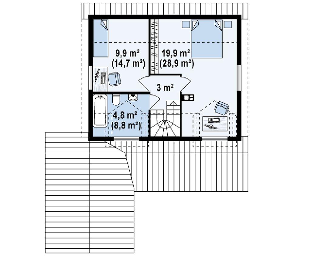 Вариант проекта Z39 c деревянными фасадами и гаражом расположенным с левой стороны. план помещений 2