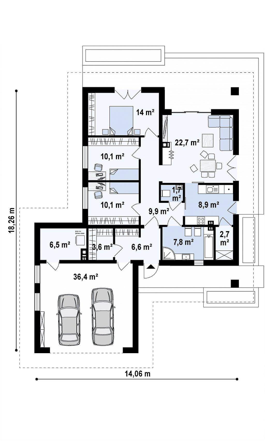 Одноэтажный дом с гаражом на две машины план помещений 1