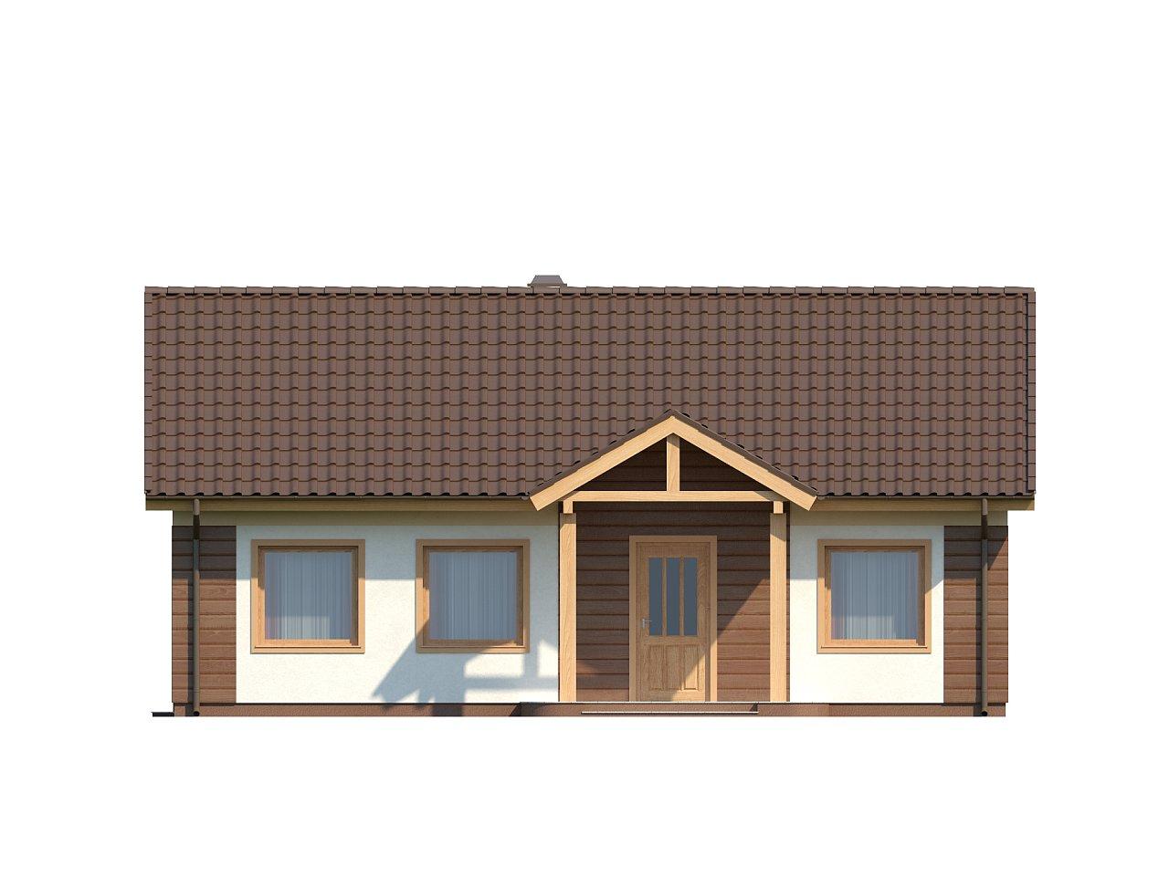 Аккуратный одноэтажный дом простой формы с двускатной крышей. 3