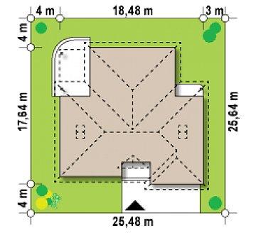 Проект просторного одноэтажного дома с возможностью обустройства мансарды. план помещений 1