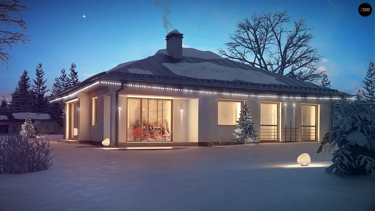 Функциональный одноэтажный дом с фронтальным гаражом для двух авто, большим хозяйственным помещением, с кухней со стороны сада. 1