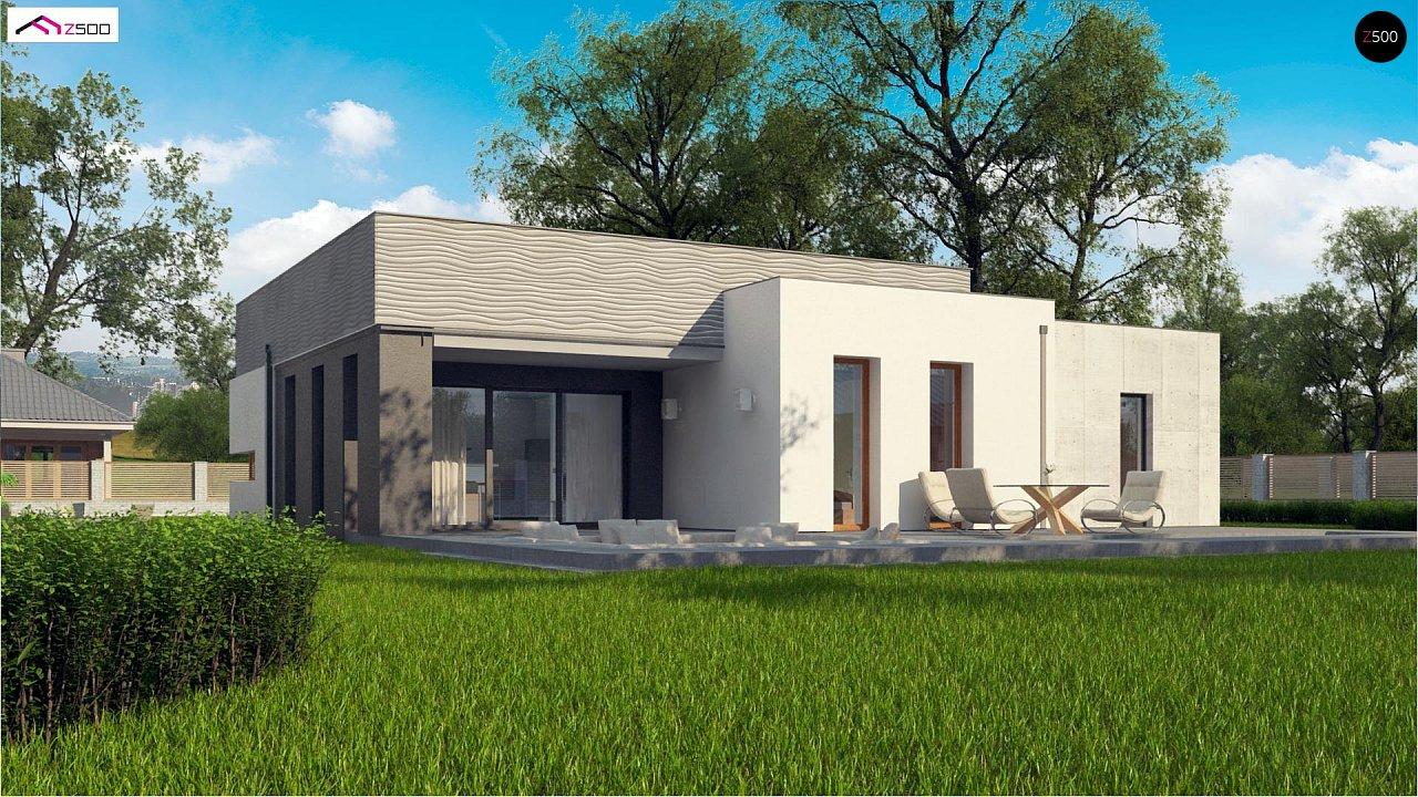 Проект современного дома с плоской кровлей и просторной открытой дневной зоной. 2