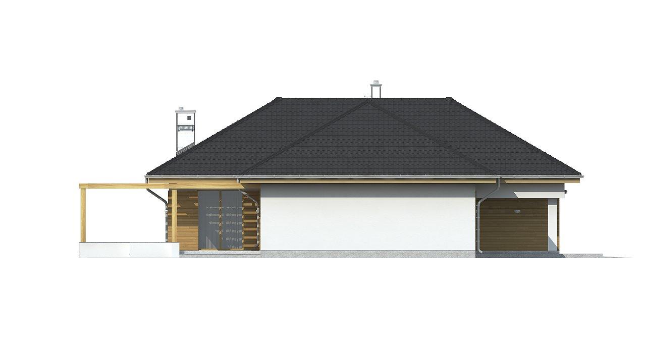 Проект комфортного одноэтажного дома с фронтальным гаражом для двух машин. 10