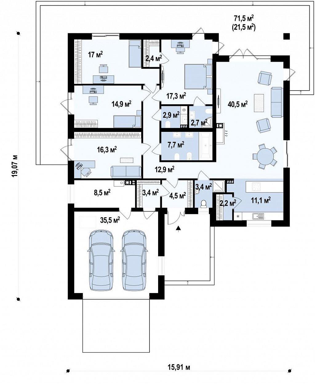 Комфортный одноэтажный дом с выступающим фронтальным гаражом для двух машин. план помещений 1