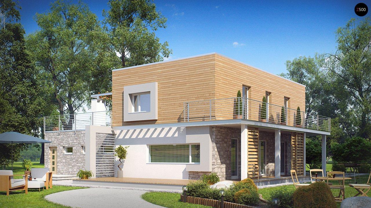 Оригинальный дом в современном стиле с обширной террасой над гаражом. - фото 2