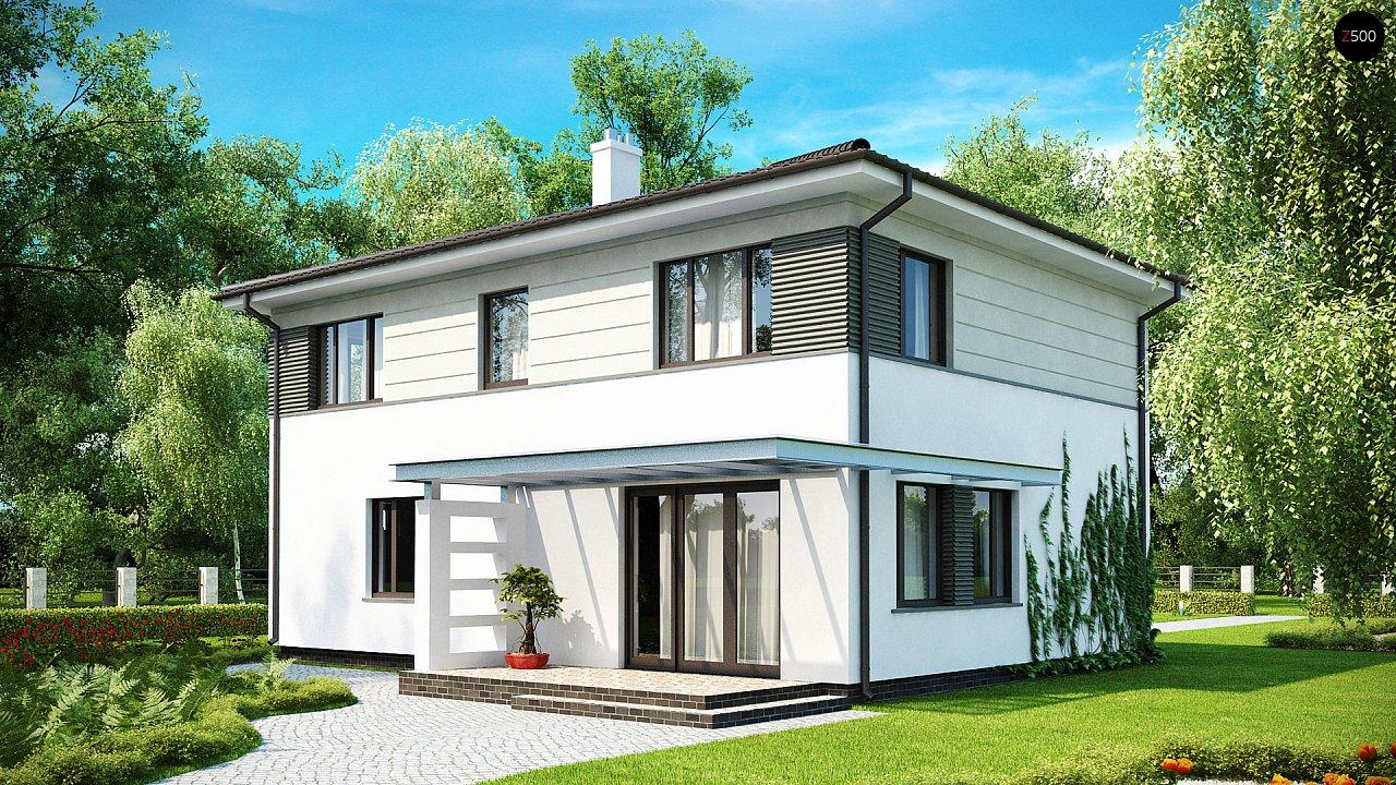 Практичный двухэтажный дом простой формы с низкой крышей, с гаражом для двух автомобилей. - фото 2