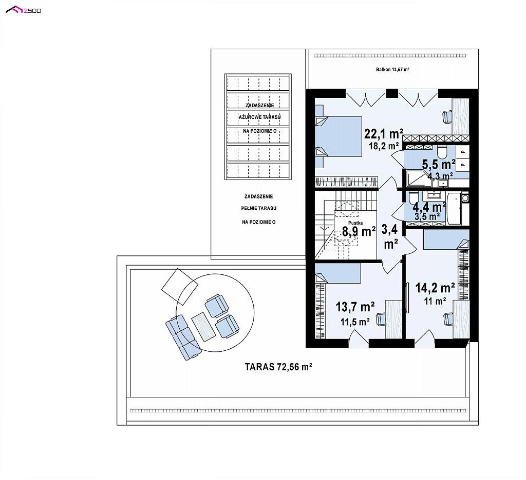 Современный дом с большой террасой и балконом на первом этаже и просторной гостиной план помещений 2